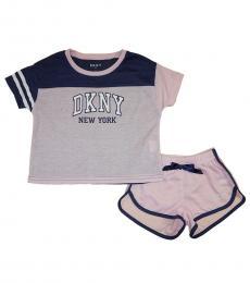 DKNY 2 Piece T-Shirt/Shorts Set (Little Girls)