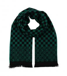 Versace Green Check Pattern Scarf