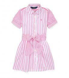 Little Girls Pink Striped Shirtdress