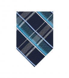 Michael Kors Aqua Blue Plaid Silk Tie
