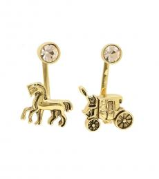 Coach Gold Carriage Horse Asymmetrical Stud Earrings