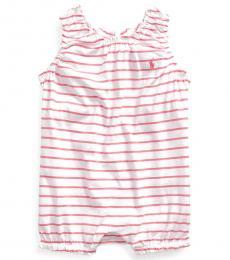 Ralph Lauren Baby Girls Lauren Pink Striped Bubble Shortall