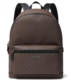 Michael Kors Brown Black Cooper Logo Large Backpack