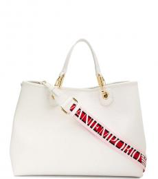 White Solid Large Satchel