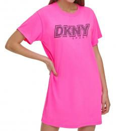 DKNY Laser Pink Rhinestone Logo T-Shirt Dress