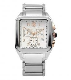 Roberto Cavalli Silver Venom Square Stainless Steel Watch