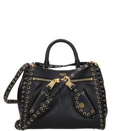 Moschino Black Leather Small Satchel