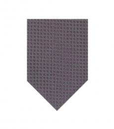 Grey Purple Dot Pattern Silk Tie