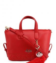 Love Moschino Red Embossed Heart Medium Satchel
