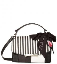 Black/White Scarf Large Crossbody