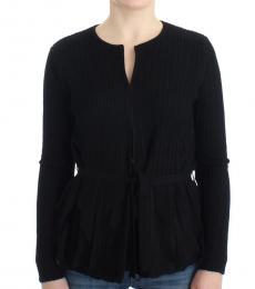Cavalli Class Black Wool Cardigan