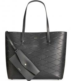 DKNY Black Marley Diamond-Perforated Large Tote