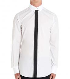 White Solid Piping Shirt