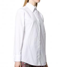 White Curved Hemline Cotton Shirt