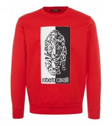 Roberto Cavalli Red Logo Graphic Sweatshirt