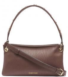 Calvin Klein Walnut Raya Medium Shoulder Bag
