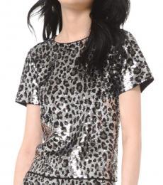 Grey Sequined Leopard Top