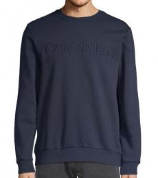 Calvin Klein Navy Logo Cotton-Blend Sweatshirt