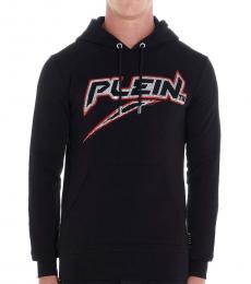 Philipp Plein Black Rhinestone Logo Hood Sweatshirt