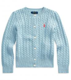 Ralph Lauren Little Girls Modern Blue Cable-Knit Cardigan