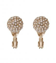 Gold Pave Sphere Clip-On Earrings
