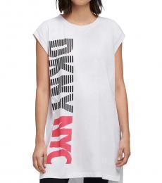 DKNY White Stripe Logo Split Hem Tunic