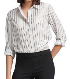 White Striped Crepe Shirt
