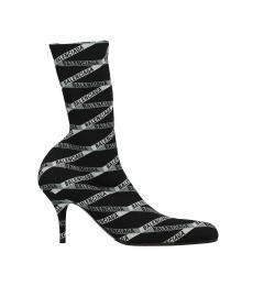 Balenciaga Black Grey Signature Print Boots