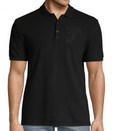 Black Logo Embroidered Polo