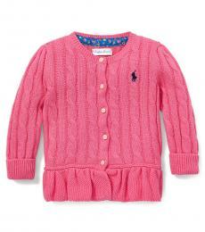 Ralph Lauren Baby Girls Pink Peplum Cardigan