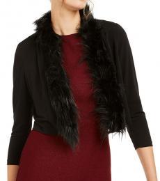 Calvin Klein Black Faux-Fur-Trim Shrug