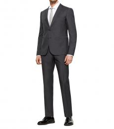 Dark Grey Virgin Wool Solid Suit