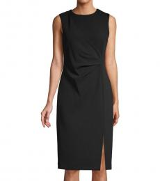 Calvin Klein Black Front-Slit Sheath Dress