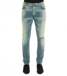 Balmain Blue Distressed Slim Jeans