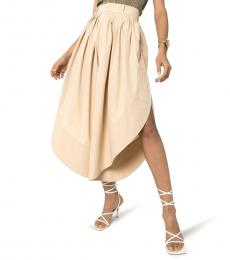 Chloe Beige Curved Hemline Pleated Pants