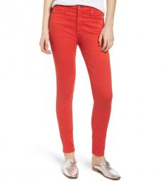 AG Adriano Goldschmied Red Poppy Farrah High-Rise Skinny Jeans