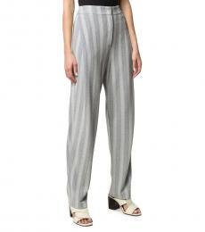 Light Grey  Striped Herringbone Trousers
