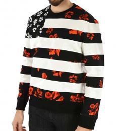 Neil Barrett Black White Floral Printed Sweatshirt