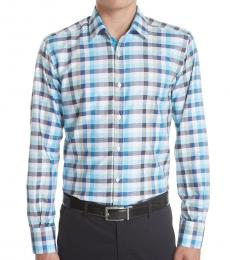 Canali Light Blue Regular Fit Check Shirt