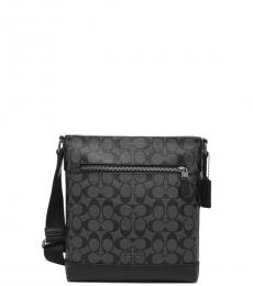 Coach Black Charcoal Graham Flat Medium Crossbody