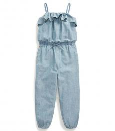 Ralph Lauren Little Girls Indigo Chambray Romper