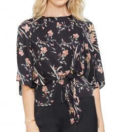 Vince Camuto Black Floral Print Tie Front Top