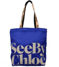See by Chloe Blue Logo Large Tote