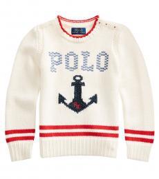 Ralph Lauren Little Girls Cream Intarsia-Anchor Sweater