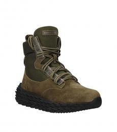 Giuseppe Zanotti Green Front Logo Ankle Boots