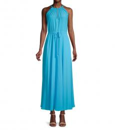 Diane Von Furstenberg Aqua Sally Halter Maxi Dress