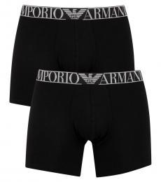 Emporio Armani Black 2 Pack Mid Waist Boxers