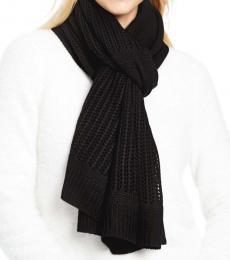 DKNY Black Open-Knit Blocked Scarf