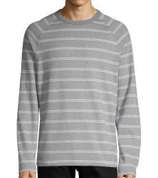 Hugo Boss Grey Striped Cotton Sweatshirt