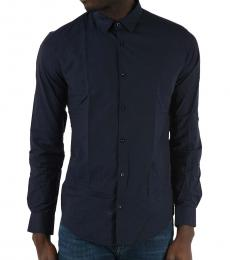 Armani Jeans Navy Blue Logo Slim Fit Shirt